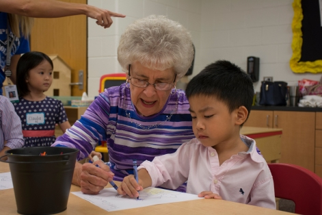 Barbara Peak, 80 of Oklahoma City, and Ethan Pham, 4 and in Pre-K .