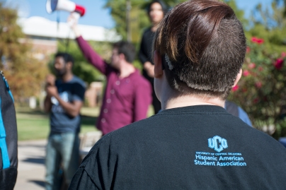 Protestor at the University of Central Oklahoma.