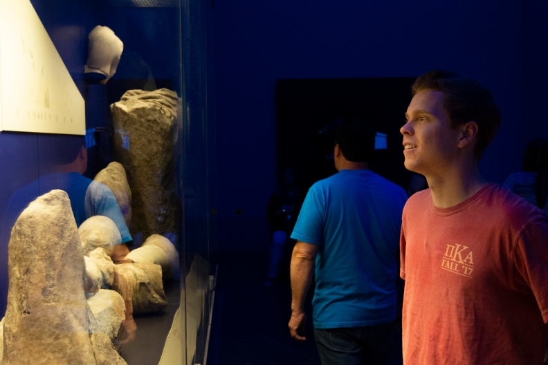 Lance Cooter, looks at artifacts at the British Museum on Tuesday.jpg